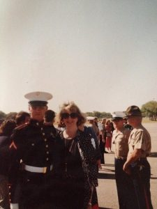 Jonathan with his mother at his Marine Corps Recruit Training Graduation as Platoon Honor Man