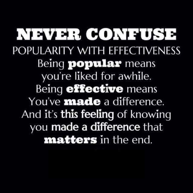 Never Confuse Popularity with Effectiveness